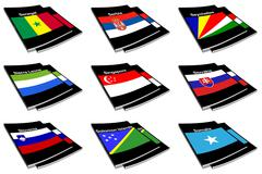 world flag book collection - stock illustration