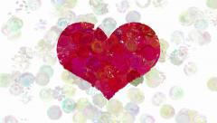 Red heart on animated dots background - stock footage