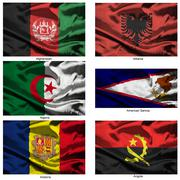 Fabric world flags collection Stock Illustration