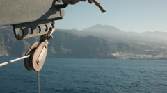 Rear view back to the island of Tenerife from a tall ship at sea. Stock Footage