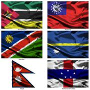 fabric world flags collection - stock illustration