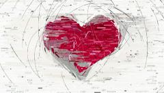 Abstract red heart decorative animation Stock Footage