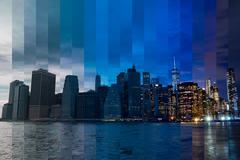 Evening over Manhattan. Fantastic Collage - stock photo