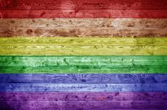 Wooden Boards Gay Pride - stock photo