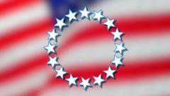 Rotating circle of stars on an American flag background - stock footage