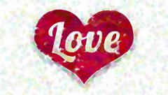 Word Love in heart symbol abstract painting Stock Footage