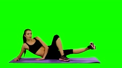 Fit woman doing yoga mat at gym, Green screen Stock Footage