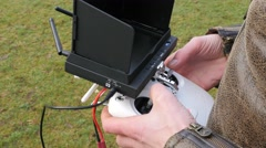 Close up shot of a Drone controller being operated, 4K UltraHD - stock footage