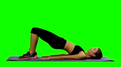 Young healthy woman fitness abdominal exercises. Green screen, stretching, Gym Stock Footage