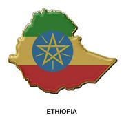 Ethiopia metal pin badge Stock Illustration