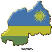 Rwanda metal pin badge - stock illustration