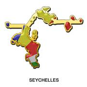 Seychelles metal pin badge - stock illustration