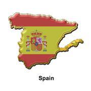 Spain metal pin badge Stock Illustration
