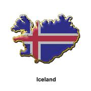 Iceland metal pin badge - stock illustration