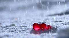 Valentine's Day 2.Red Hearts on the White Snow under a Freezing Rain Stock Footage