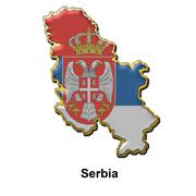 Serbia metal pin badge - stock illustration