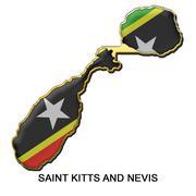 Saint Kitts and Nevis metal pin badge Stock Illustration