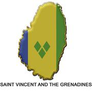 Saint Vincent and the Grenadines metal pin badge Stock Illustration