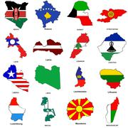 World flag map sketches collection Piirros