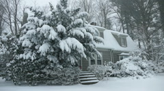 Heavy snow tree and house - stock footage