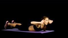 Sport woman abdominal exercises on fitness mat. Gym, alpha channel, matte Stock Footage