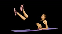 Woman doing strength exercises for abdominal muscles, Gym,  alpha channel, matte Stock Footage