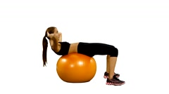 girl with fitness ball, shakes press, Gym. white background - stock footage