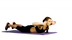 Sport woman abdominal exercises on fitness mat. white background, Gym Stock Footage