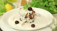 Cottage cheese pancakes with cherry yogurt topping Stock Footage