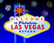 Las Vegas sign at night - stock illustration
