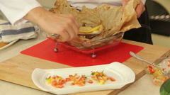 Baked fish with salsa vegetables Stock Footage