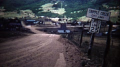 1972: Cripple Creek city limits speed limit sign western small town. - stock footage