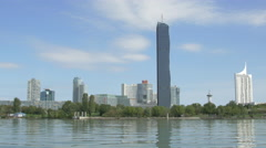 DC Tower 1 and other skyscrapers in Vienna Stock Footage