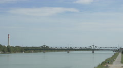 Railway bridge over Donau river, Vienna Stock Footage