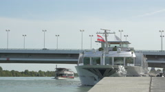 Tourist boats on the Danube river, Vienna Stock Footage