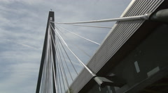 Cables attached to a bridge across the Danube river, Vienna - stock footage