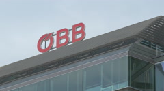 OBB sign on the Praterstern railway station in Vienna Stock Footage