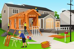 Workers Working on Home Renovation - stock illustration