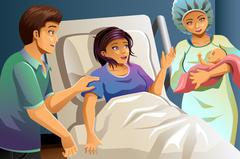 Midwife Helping Delivering a Baby - stock illustration