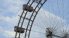 Stock Video Footage of Close up view of the Giant Ferris Wheel in Prater, Vienna