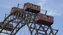 The red gondolas of the Giant Ferris Wheel in Prater, Vienna - stock footage