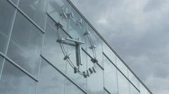 Modern clock on the Praterstern railway station in Vienna Stock Footage