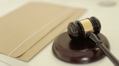 Gavel used by judge in court Stock Footage