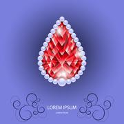Red ruby in share of drop with pearls Stock Illustration
