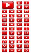 Vector Multimedia buttons set - stock illustration