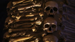 Chapel of Bones decorated ceiling, skeletons, skulls, tilt down, Portugal Stock Footage