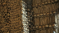 Chapel of Bones wall, skeletons, skulls, church, medium shot, Portugal Stock Footage