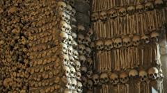 Chapel of Bones wall, skeletons, skulls, church, medium shot, Portugal - stock footage