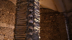 Chapel of Bones pillar, skeletons, skulls, church, Evora, Portugal Stock Footage