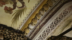 Chapel of Bones decorated ceiling, skeletons, skulls, church, Evora, Portugal Stock Footage